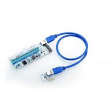 Райзер Riser PCI-E 1x to 16x 60см USB 3.0 mining ver 008s Sata Molex 6pin